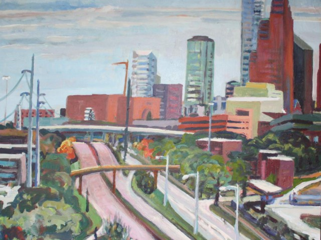 Looking East over Memorial Parkway with Ferris Wheel 36×36 inches