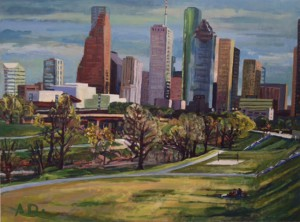 View-of-Downtown-Houston-from-Allen-PRKWY.-36x48-inches