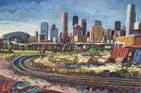 Nance St. with Graffiti Wall 24×36 inches