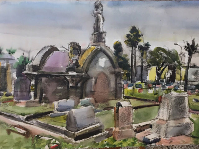 Old Confederate Cemetery, watercolor